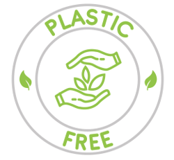 a circular logo with the words 'plastic free' in green and an icon of two hands holding leaves.