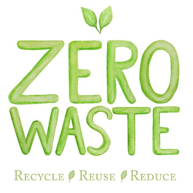 illustration of the words 'zero waste' in green with two leaves. below is the text 'recycle reuse reduce'.