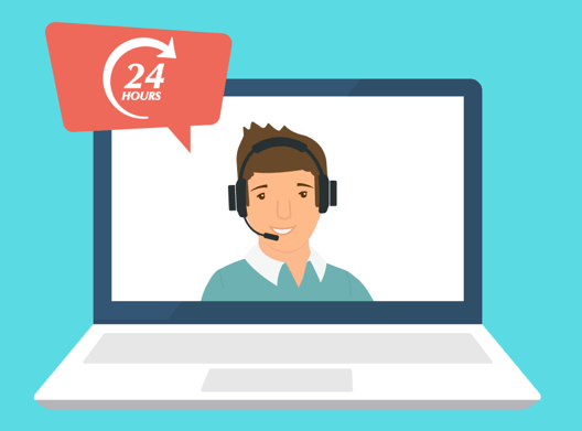 illustration of a laptop computer with a customer service worker on the screen. a speech bubble has the words '24 hours'.