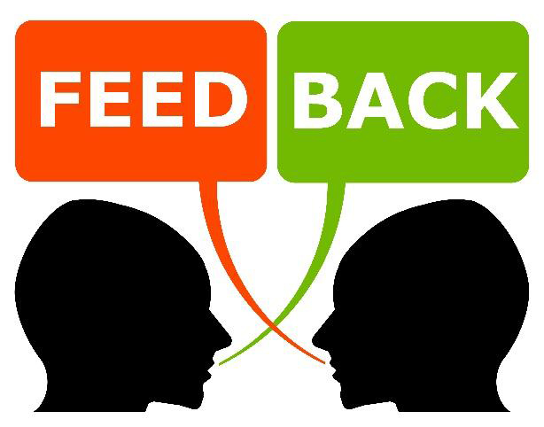 silhouettes of two people talking to each other. in one speech bubble is the word 'feed' and in the other speech bubble is the word 'back'.