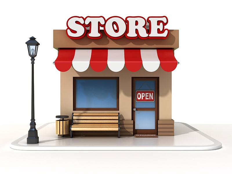 graphic of a storefront with an open sign, bench, lamppost, and the word 'store' on top of the building.