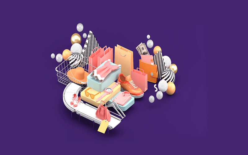 3d graphic of retail items on a purple background: sunglasses, watch, shoes, apparel, handbag, and shopping bags.
