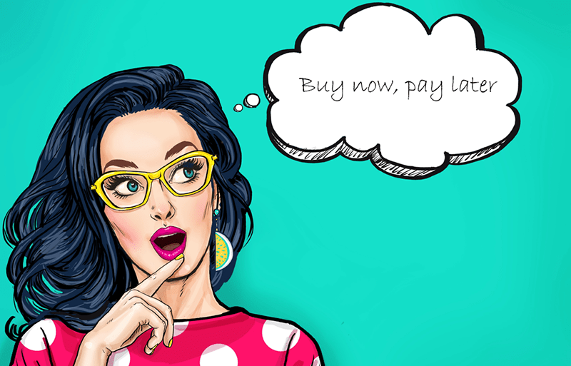 comic-book-style illustration of a woman with yellow glasses and a thought bubble that says 'buy now, pay later'.