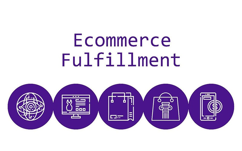the words 'ecommerce fulfillment' with circular icons below, representing ecommerce shopping and services.