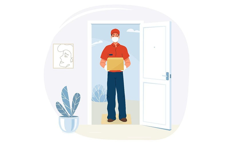 illustration of a delivery person with a mask, standing in the front doorway of a house with a package.