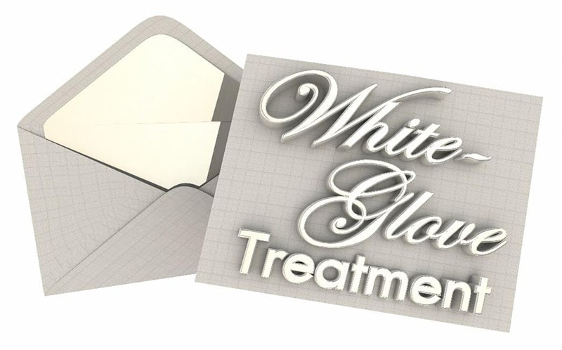 graphic of an envelope and card that says 'white-glove treatment'