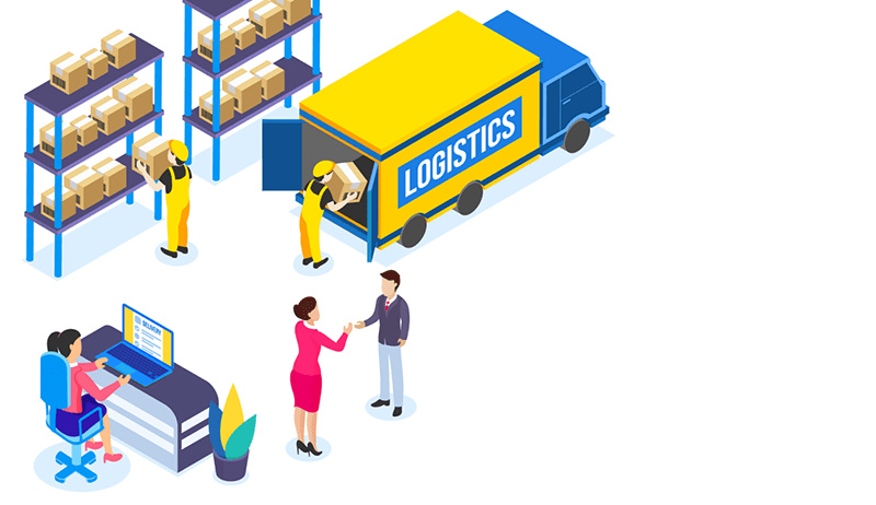 illustration of a warehouse with workers loading and unloading boxes onto a truck with the word 'logistics' on the side.