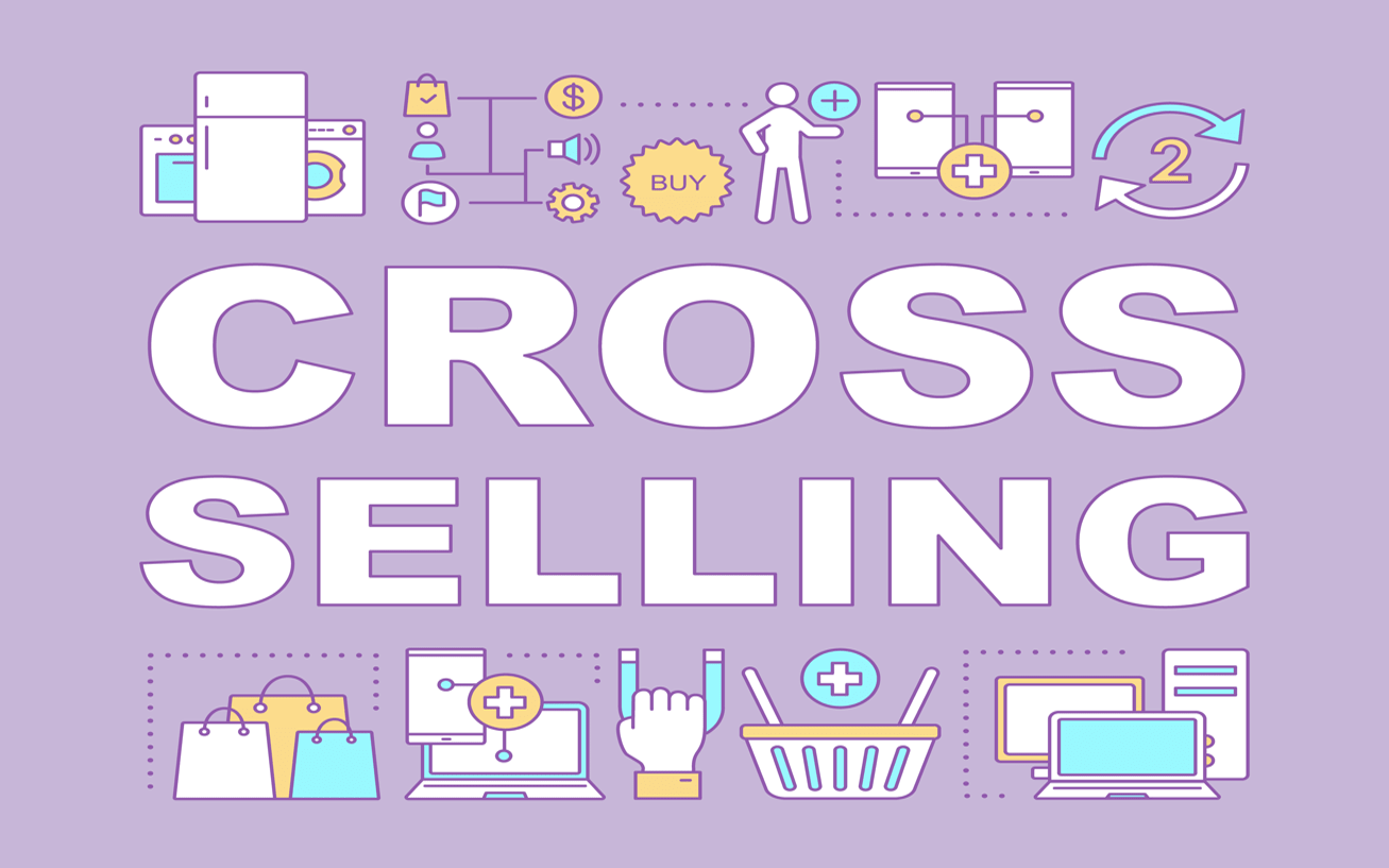 ecommerce icons on a purple background: shopping bags, computers, and products. in the middle are the words 'cross selling'.