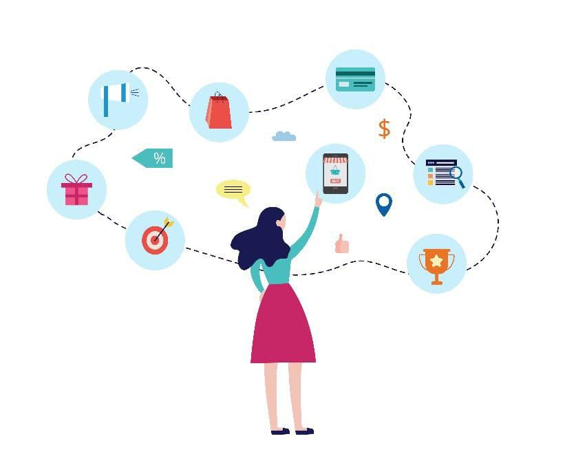 illustration of a woman pointing to floating ecommerce icons: credit card, gift box, target, smartphone, shopping bag, and user interface.