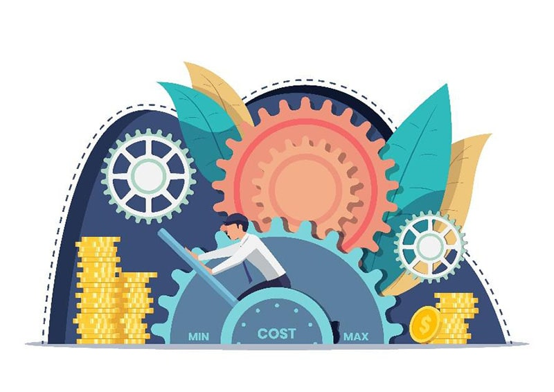 illustration of a man pushing a 'cost' lever between min and max. around him are coins, gears, and decorative elements.