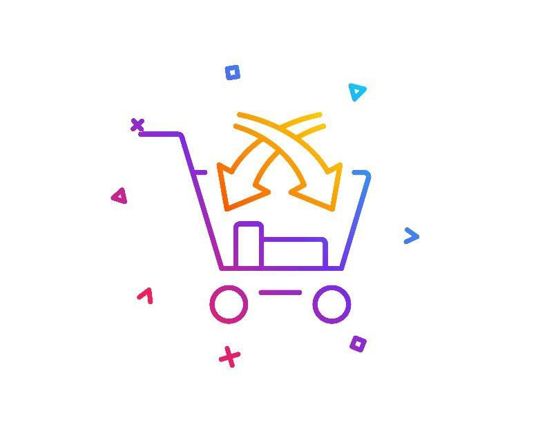 graphic of a multi-colored shopping cart icon filled with products.