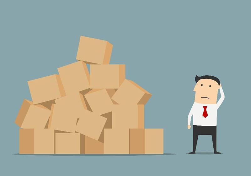 illustration of a man looking confused, standing next to a messy pile of shipping boxes.