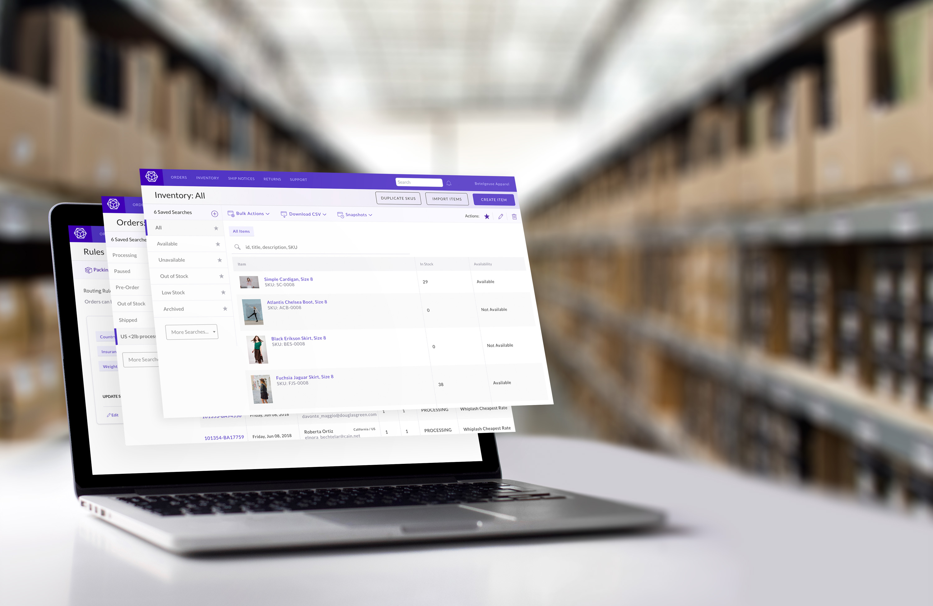 Laptop with ecommerce fulfillment screens for inventory, orders, and rules