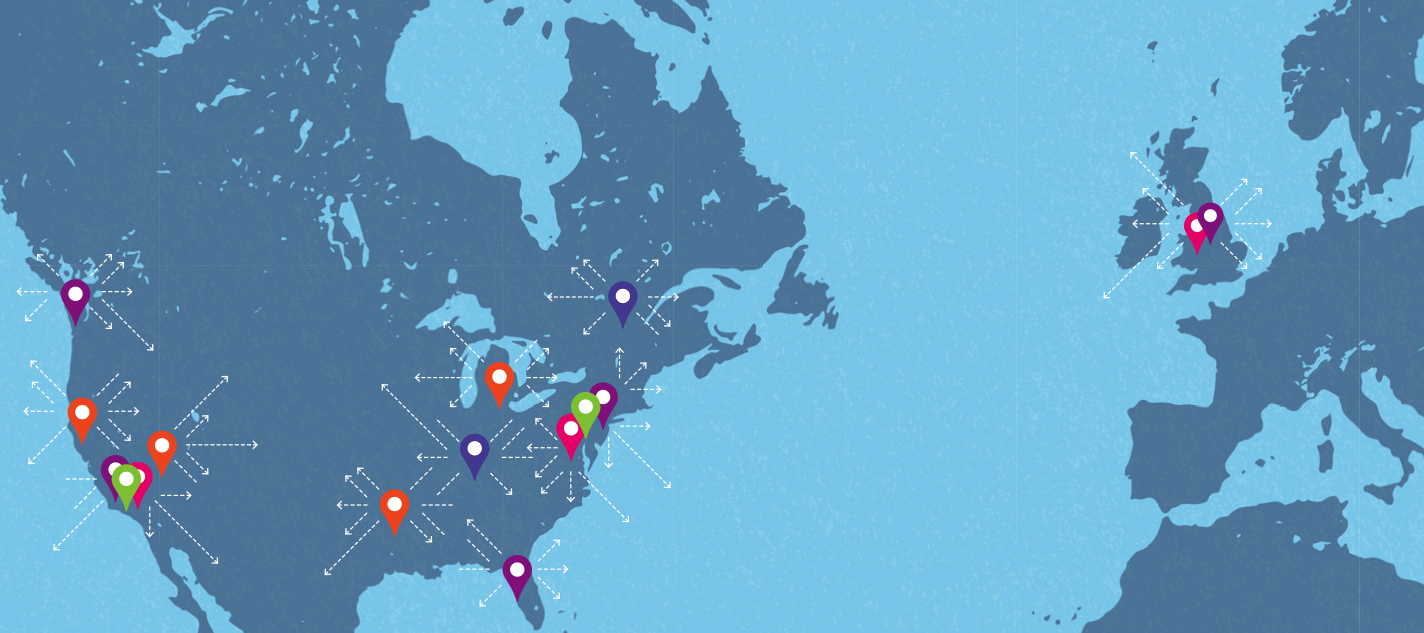 Map of north america and the united kingdom showing ecommerce fulfillment operations warehouse locations
