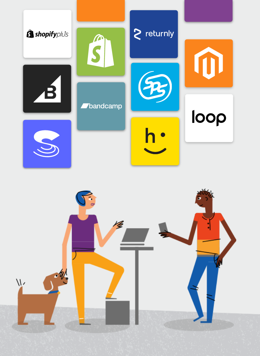 Two people having a conversation next to their adorable dog with Whiplash integration partner logos: shopify, betabrand, bandcamp, loop, happy, returnly, shopify plus, magento, sps commerce