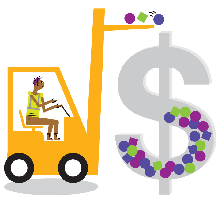 person moving a giant money sign filled with shapes with a forklift