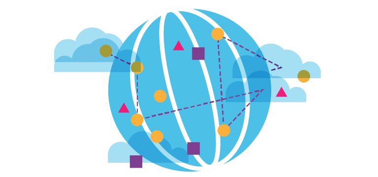 globe illustration with various shapes surrounding it representing shipping fulfillment services