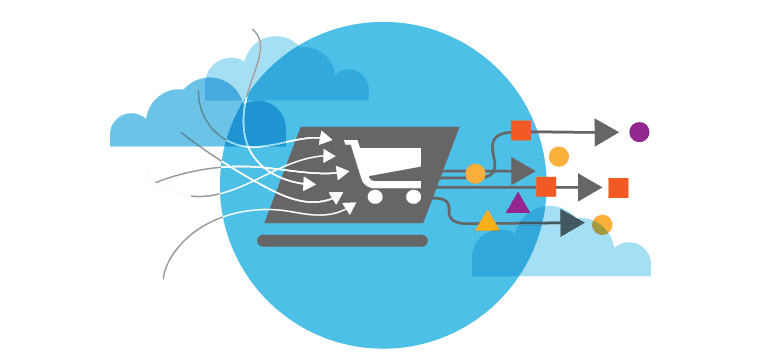 blue circle with shopping cart icon, clouds, and various shapes representing ecommerce purchases
