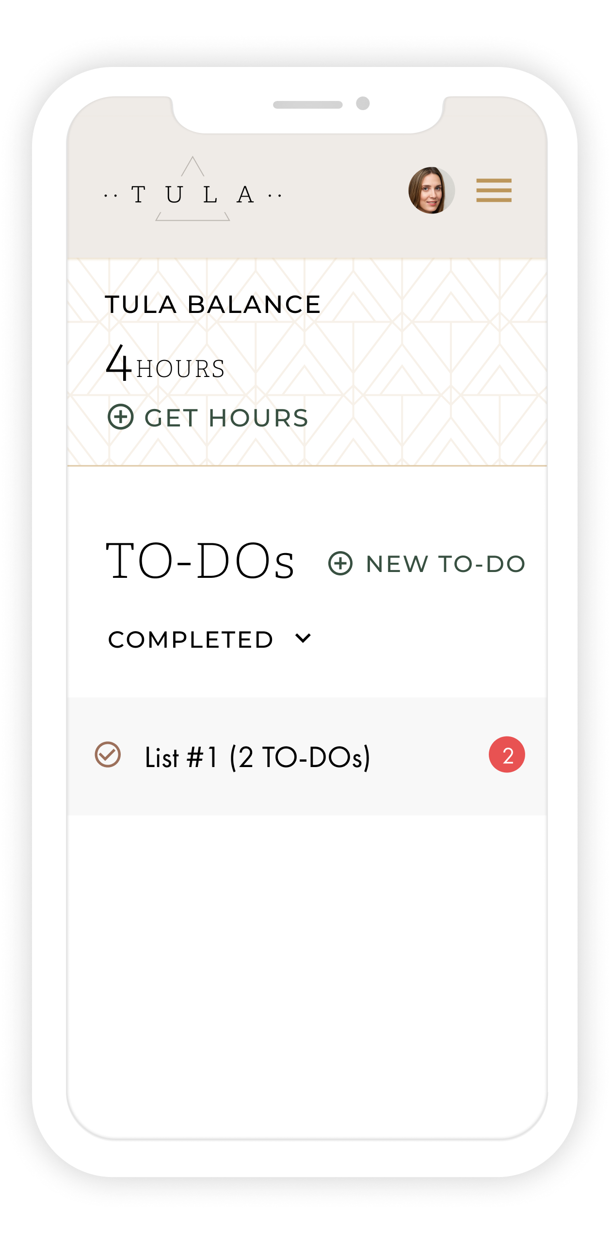 A cell phone display showing a completed to-do list on the TULA app.