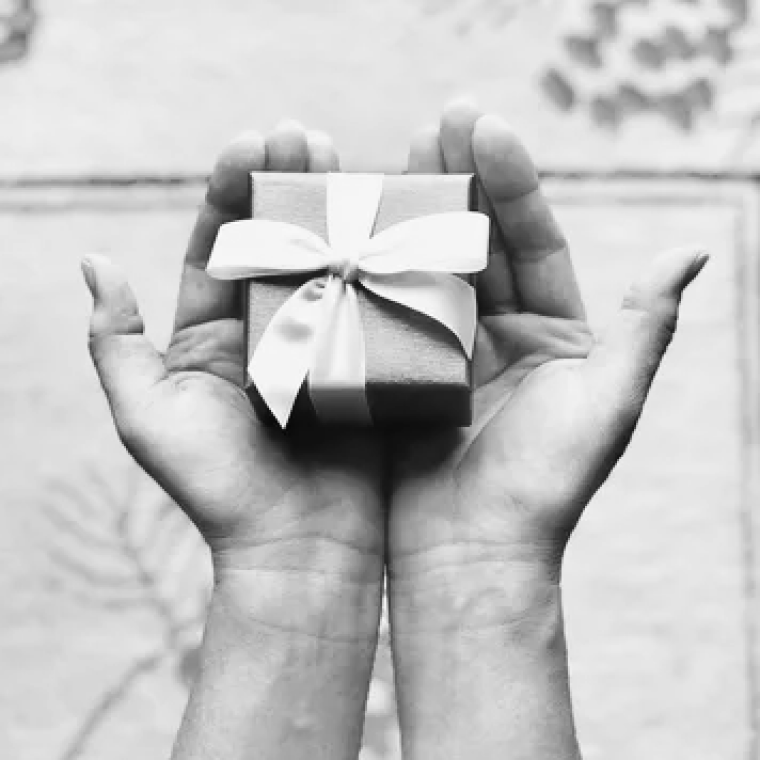 Two hands, palms-up, presenting a small wrapped gift with a bow.