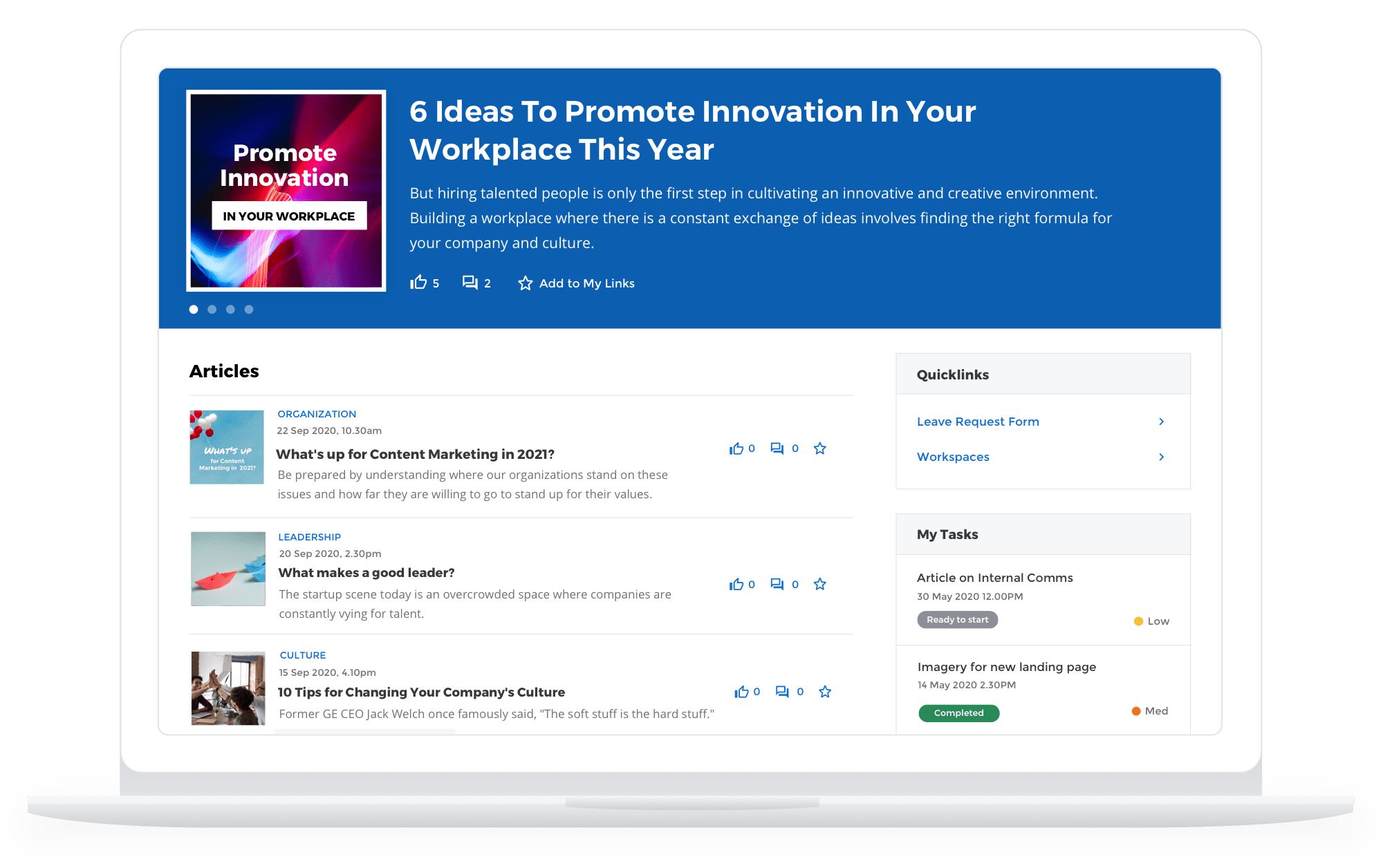Team members can see their tasks on the homepage
