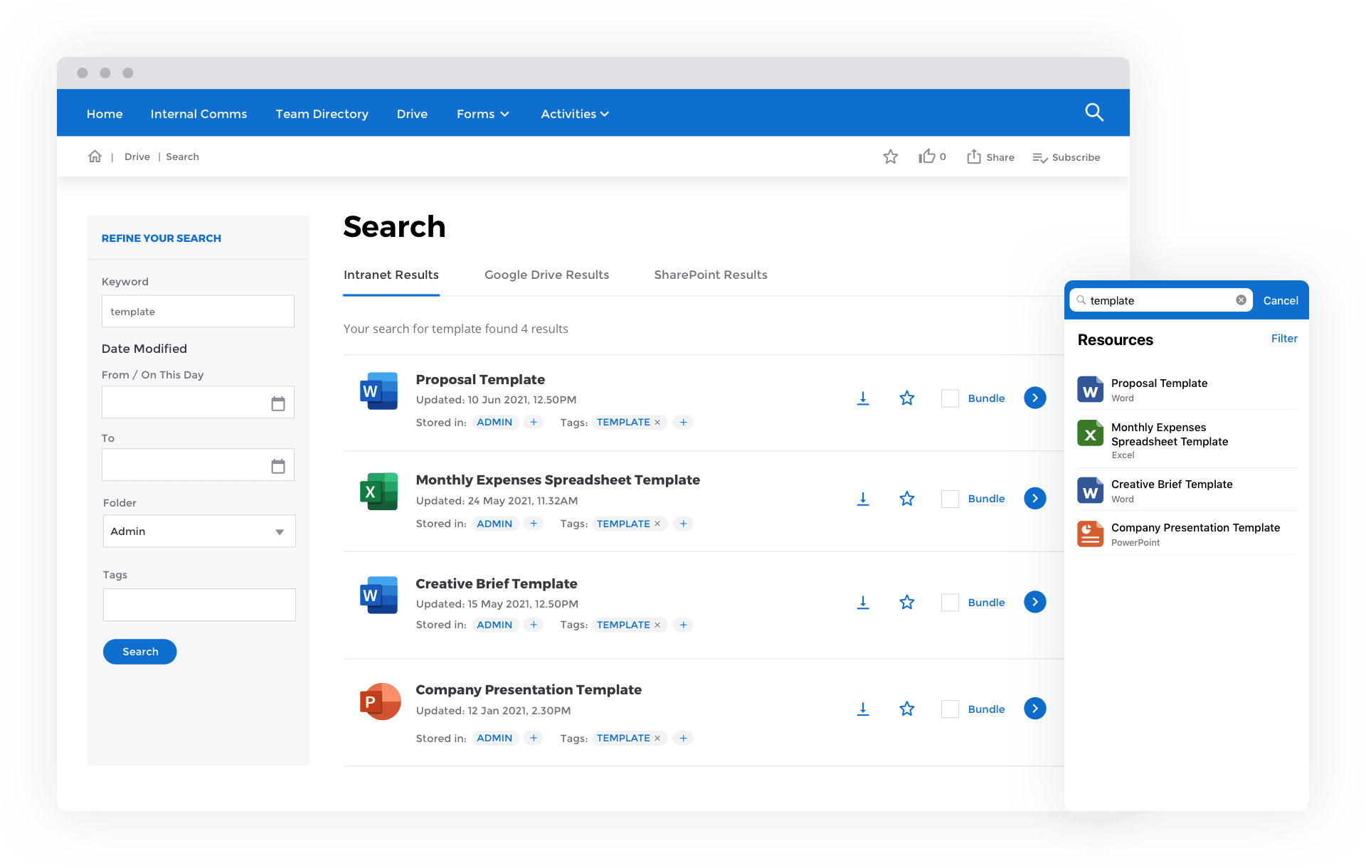 CentricMinds File Sharing & Management Search
