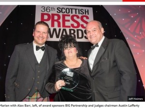Marion Scott, Daily Record and Sunday Mail, Reporter/ Journalist of the Year 2015