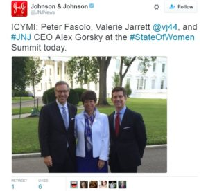 Tweet from J&J day at the White House
