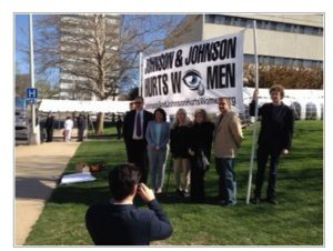 Protesters at J&J shareholders meeting, April 2014