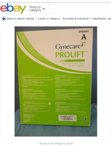 Prolift on eBay July 2013