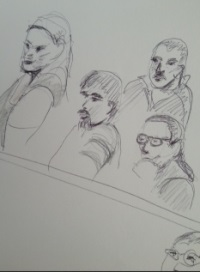 Jurors in first Cisson trial, July 2013, art by Akre