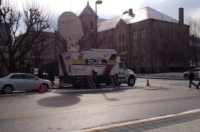 news truck near courthouse