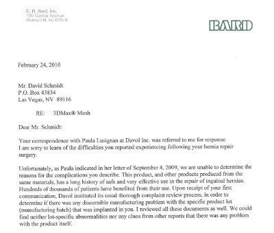 Feb 24, 2010 letter to Schmidt from C.R. Bard Please note: At the text here attach PDF document: [July 22, 2014 Bard Letter]