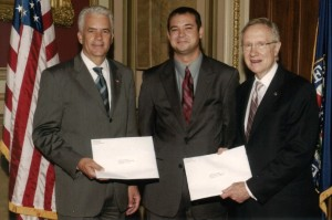 Sen. John Ensign, David Schmidt, Sen. Harry Reid, U.S. Capital, July 29, 2010.  Both U.S. Senators are holding their copy of the July 29, 2010 letter I sent to the Senators of the 112th U.S.  Congress requesting a hearing/investigation of the surgical mesh industry.