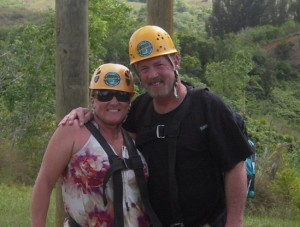 Mr. and Mrs. Perry zip lining in Hawaii, 2012
