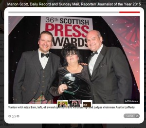 Marioin Scott, Reporter of the Year, April 2015