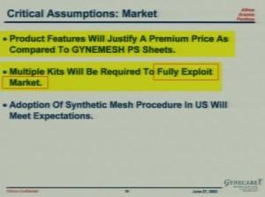 Ethicon premium price fully exploit the market  300