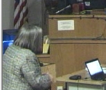 Christy Jones questions Linda Gross