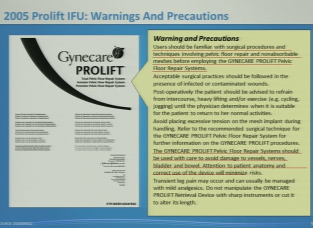 D18 prolift adequately warned in IFU in 2006