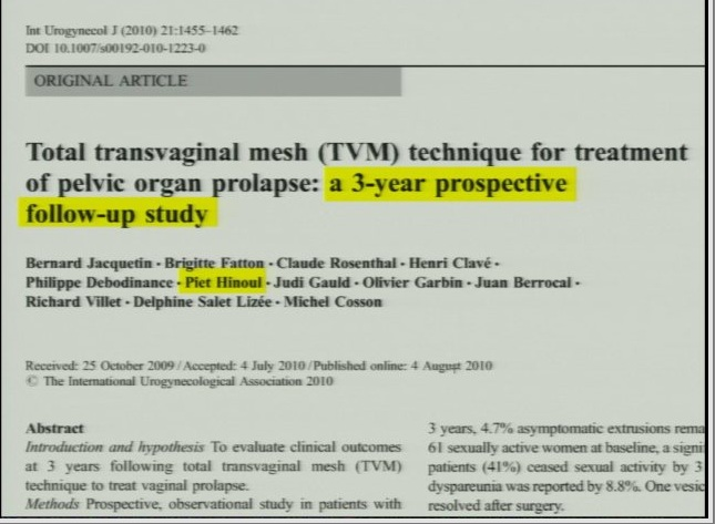 D20 3 yr study piet hinoul co authored tvm studies 15 percent exposure rate