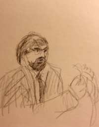 Dr. Brian Raybon on the stand, sketch by Jane Akre