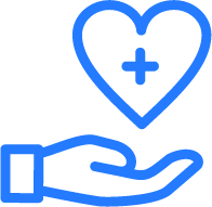 Blue and white hand and heart Icon