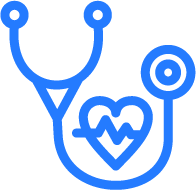 Blue and white stethoscope