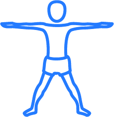 Blue and white person doing yoga