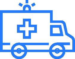 Blue and white ambulance