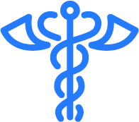 Blue and white medical sign