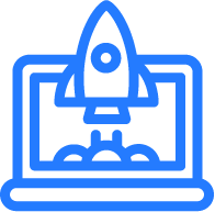 Blue and white computer with a rocket