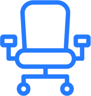 Blue and white office chair