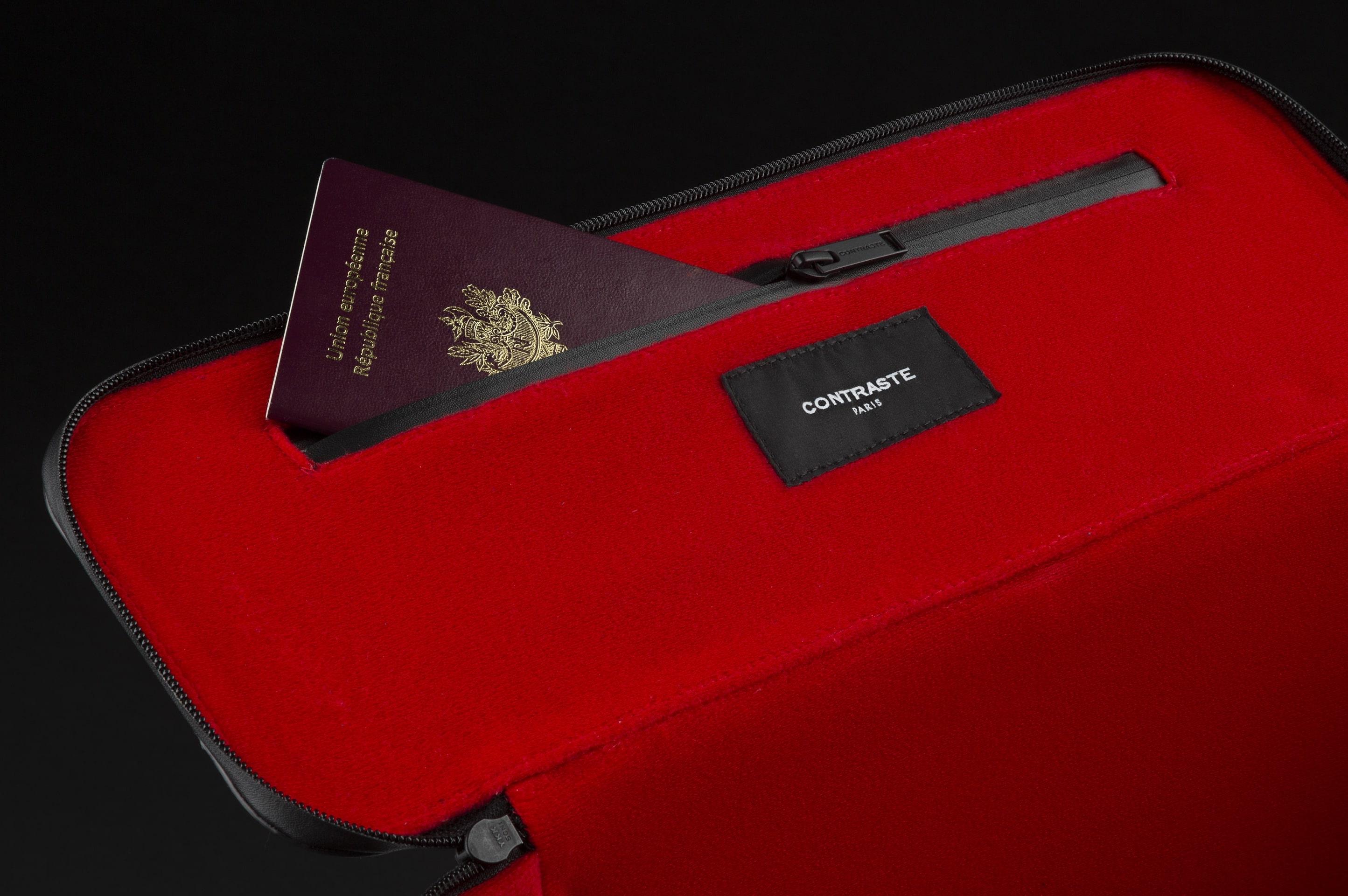 contraste paris technologie sac photo cuir noir velours rouge pochette zippée fermeture