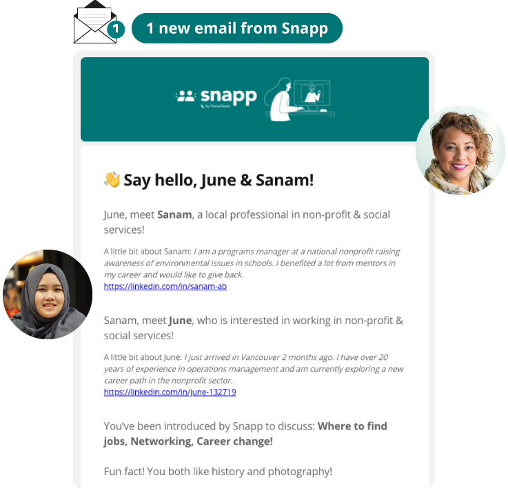 Snapp email introduction between newcomer and local professional